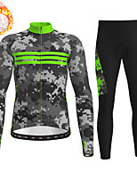 cheap -21Grams Men's Long Sleeve Cycling Jersey with Tights Winter Fleece Grey Camo / Camouflage Bike Fleece Lining Breathable Warm Sports Graphic Mountain Bike MTB Road Bike Cycling Clothing Apparel