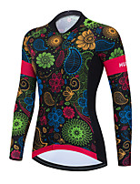 cheap -Women's Long Sleeve Cycling Jersey Winter Green Floral Botanical Bike Top Mountain Bike MTB Road Bike Cycling Breathable Quick Dry Sports Clothing Apparel / Stretchy / Athletic
