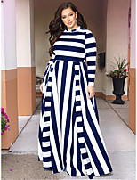 cheap -Women's Swing Dress Midi Dress - Long Sleeve Print Zipper Print Fall Winter Plus Size Casual Loose 2020 Black Red Dusty Blue L XL XXL 3XL 4XL 5XL 6XL 7XL / Maxi