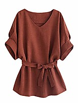 cheap -women's v neckline self tie short sleeve blouse tops solid color loose t-shirt (brown, m)