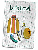 """cheap -3d rose lets bowling ball pins shoes and bag gold green blue twl_180795_1 towel, 15"""" x 22"""""""