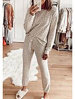 cheap -Women's Basic Leopard Tie Dye Casual / Daily Two Piece Set Sweatshirt Pant Loungewear Patchwork Print Tops