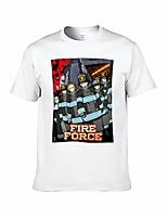 cheap -short sleeve t-shirt for men fi-re for-ce anime white m