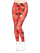 cheap -Women's Sporty Comfort Skinny Gym Yoga Leggings Pants Patterned Fruit Ankle-Length Print High Waist Red
