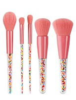 cheap -New 5-Piece Candy Cosmetic Set Brush Transparent Handle Color Candy Granule Powder Brush Beauty Tool Set