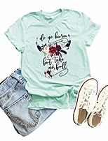 cheap -do no harm but take no bull graphic shirt women funny country music floral cow printed short sleeve casual tee top (light green, l)
