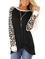 cheap -women twist knot tunic shirts blouse tops plus size leopard long sleeve stretch black xxl