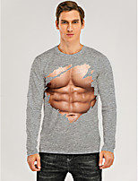 cheap -Men's T shirt 3D Print Graphic 3D Muscle Print Long Sleeve Daily Tops Round Neck Gray