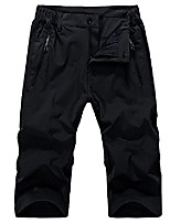 cheap -men's quick dry stretchy hiking mountaineering shorts, zipper pocket capri pants #1256-black,us xl (asia 4xl)