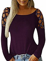 cheap -women's hollowed long sleeve sequin scoop neck blouse tops cold shoulder tunic tops