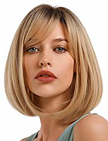 cheap -ombre bob straight blonde wig –  natural shoulder length darker root blonde topper synthetic hair wigs with bangs for white women everyday wear (blonde)
