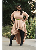 cheap -Women's Swing Dress Knee Length Dress - 3/4 Length Sleeve Solid Color Patchwork Fall Plus Size Casual Slim 2020 Blue Khaki XL XXL 3XL / Asymmetrical