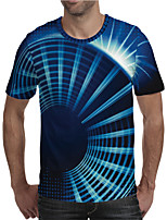 cheap -Men's Graphic Optical Illusion 3D Plus Size T shirt 3D Print Print Short Sleeve Daily Tops Elegant Exaggerated Round Neck Blue