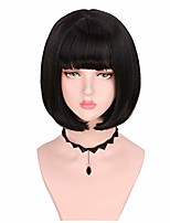 cheap -short bob straight colored fashion halloween party wig for women girls (black)