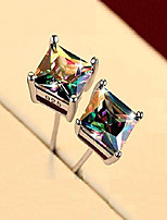 cheap -stylish s925 hypoallergenic rainbow quartz earrings for mens womens 4 claw glory cz stud earrings jewelry gifts, (round & square) (square)