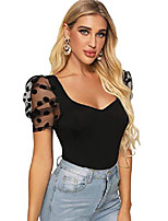 cheap -women's sweetheart neck mesh puff sleeve slim fitted tee top black xl