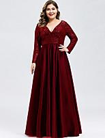cheap -Women's Swing Dress Maxi long Dress - Long Sleeve Solid Color Zipper Patchwork Fall V Neck Plus Size Elegant Sexy Slim 2020 Wine XS S M L XL