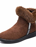 cheap -womens winter snow boots faux fur lining ankle short booties suede leather velour cuff sock knit boots bling party shoes outdoor cold weather walking shoes brown size 5