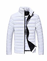 cheap -men coat winter warm cotton stand collar slim zip solid coat outwear jacket white