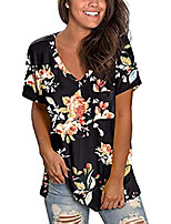 cheap -womens casual tops cute sexy off shoulder t-shirt spring summer tunics blouse (1-black floral, large)