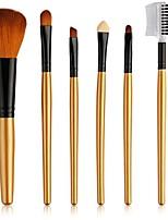cheap -6 pieces makeup brush set professional synthetic kabuki foundation eyebrow eyeliner blush blending brushes gold