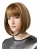 "cheap -11"" short bob wig with bangs synthetic hair for white black women cosplay color: medium blonde with light blonde highlights"