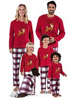 cheap -Family Look Santa Claus Animal Print Long Sleeve Regular Regular Clothing Set Red