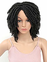 cheap -short dreadlock wig 6inch soft twist crochet braids afro short curly synthetic wig with curly ends faux locs braids hair wig for women (black)