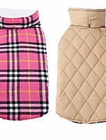 cheap -sisave small medium large dogs waterproof windproof reversible british style plaid jacket doggy vest warm coat (medium, pink)