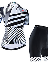 cheap -Women's Short Sleeve Cycling Jersey Cycling Jersey with Bib Shorts Cycling Jersey with Shorts White Black Black / White Stripes Bike Breathable Quick Dry Sports Stripes Mountain Bike MTB Road Bike
