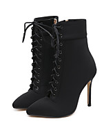 cheap -Women's Boots Stiletto Heel Pointed Toe Sexy Daily Walking Shoes PU Lace-up Solid Colored Almond Black / Booties / Ankle Boots