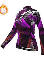 cheap -21Grams Women's Long Sleeve Cycling Jacket Winter Fleece Polyester Purple Geometic Bike Jacket Top Mountain Bike MTB Road Bike Cycling Thermal Warm Fleece Lining Breathable Sports Clothing Apparel