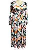 cheap -Women's Sheath Dress Maxi long Dress - Long Sleeve Print Print Fall V Neck Plus Size Sexy Holiday Loose 2020 Yellow Blushing Pink XL XXL 3XL 4XL