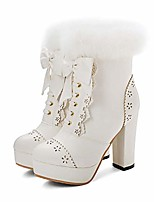 cheap -womens sweet party lolita shoes platform chunky high heel pu lace up bow ankle boots white