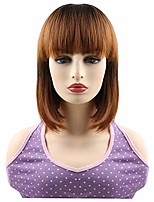 cheap -synthetic short bob wig with bang ombre brown synthetic hair wig for women (2/30)