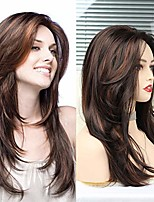 cheap -n&t long layered wigs for women mixed brown shoulder length wig with bangs natural looking heat resistant hair