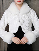 cheap -Long Sleeve Shawls Faux Fur Wedding / Party / Evening Women's Wrap With Lace-up / Pom-pom