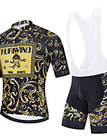 cheap -Men's Short Sleeve Cycling Jersey Cycling Jersey with Bib Shorts Cycling Jersey with Shorts Black Gold Black / White Floral Botanical Bike Breathable Quick Dry Sports Graphic Mountain Bike MTB Road