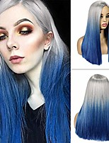 cheap -ombre wig long straight colored hair synthetic wigs middle part natural looking heat resistant party cosplay costume full wigs for women girls(grey&blue)
