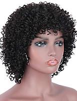 cheap -brazilian remy black 100% human hair wigs afro kinky curly wigs for black women full head kinky curls wig with hair bangs