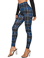 cheap -women's plaid high waist active workout sport tights pants leggings blue s