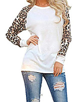 cheap -women casual leopard t-shirt o-neck patchwork knits & tees white