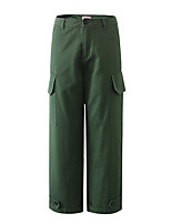 cheap -Women's Basic Streetwear Comfort Daily Going out Pants Chinos Pants Solid Colored Ankle-Length Pocket Black Khaki Green