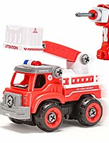 cheap -fire truck toy diy rc car rescue fire truck remote control vehicle assemable take apart red car early educational toddler toy set powered car toys for christmas children boys girls kids gift