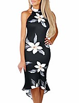 cheap -women off shouder blooming babe floral dip hem party evening bodycon midi dress(black,small)