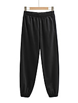 cheap -Women's Sporty Basic Comfort Daily Going out Jogger Sweatpants Pants Solid Colored Full Length Pocket Black Purple Khaki