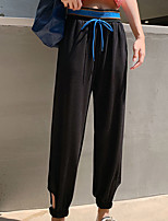 cheap -Women's Basic Streetwear Comfort Daily Going out Jogger Chinos Pants Solid Colored Ankle-Length Black Blue Gray
