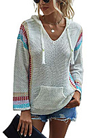 cheap -choies women's v neck hooded sweaters lightweight color block striped mexican baja pullover sweater white