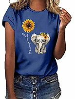 cheap -sunflower-elephant print t shirts tops for women short sleeve casual tees crew neck pullover basic summer blouses s-3xl blue