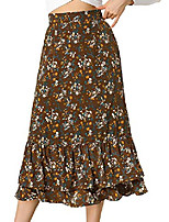 cheap -women's floral a line elastic waist tiered ruffle hem flowy midi skirt small brown